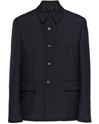 Chaqueta estilo camisa de lana negra de Prada