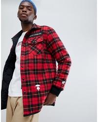 Chaqueta estilo camisa de lana roja