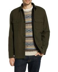 Chaqueta estilo camisa de lana verde oliva