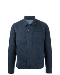 Chaqueta estilo camisa de lino azul marino de Venroy