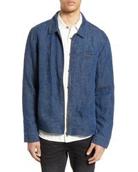 Chaqueta estilo camisa de lino azul