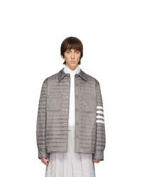 Chaqueta estilo camisa de nylon acolchada gris de Thom Browne