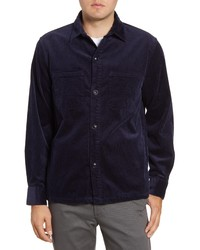 Chaqueta estilo camisa de pana azul marino