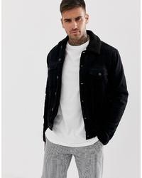 Chaqueta estilo camisa de pana negra de New Look