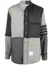 Chaqueta estilo camisa de patchwork en gris oscuro de Thom Browne