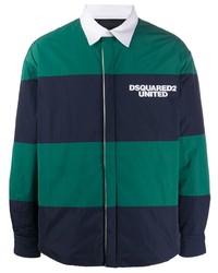 Chaqueta estilo camisa de rayas horizontales azul marino de DSQUARED2