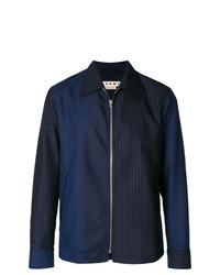 Chaqueta estilo camisa de rayas verticales azul marino