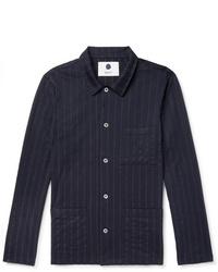 Chaqueta estilo camisa de rayas verticales azul marino de Nn07