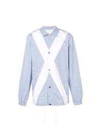 Chaqueta estilo camisa de rayas verticales celeste de Comme Des Garcons SHIRT