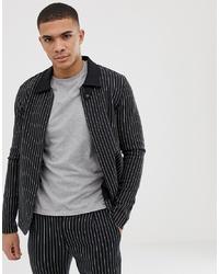 Chaqueta estilo camisa de rayas verticales negra de Jack & Jones