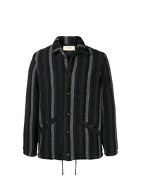 Chaqueta estilo camisa de rayas verticales negra de Maison Flaneur