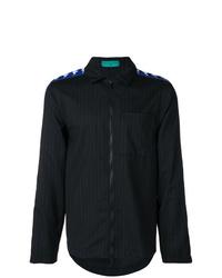 Chaqueta estilo camisa de rayas verticales negra de Paura