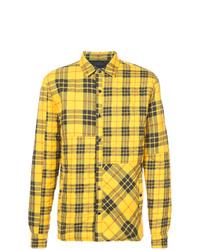 Chaqueta estilo camisa de tartán amarilla
