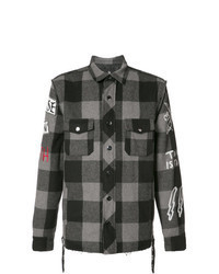 Chaqueta estilo camisa de tartán negra