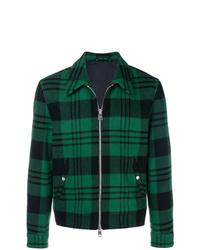 Chaqueta estilo camisa de tartán verde oscuro