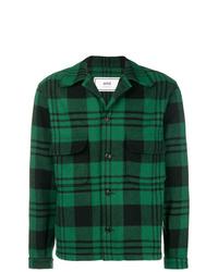 Chaqueta estilo camisa de tartán verde oscuro de AMI Alexandre Mattiussi