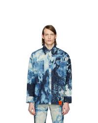 Chaqueta estilo camisa efecto teñido anudado azul marino