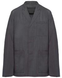 Chaqueta estilo camisa en gris oscuro de Prada