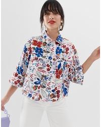 Chaqueta estilo camisa estampada blanca de Essentiel Antwerp