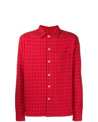 Chaqueta estilo camisa estampada roja de AMI Alexandre Mattiussi