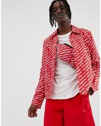 Chaqueta estilo camisa estampada roja de ASOS DESIGN
