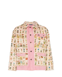 Chaqueta estilo camisa estampada rosada de Bode