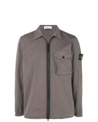 Chaqueta estilo camisa gris de Stone Island