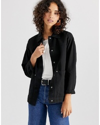 Chaqueta estilo camisa negra de ASOS DESIGN