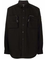Chaqueta estilo camisa negra de Balmain