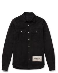 Chaqueta estilo camisa negra de Rick Owens