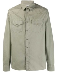 Chaqueta estilo camisa verde oliva de Brunello Cucinelli