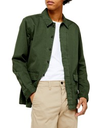 Chaqueta estilo camisa verde oscuro