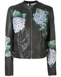 Chaqueta motera con print de flores en gris oscuro de Dolce & Gabbana