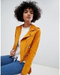 Chaqueta motera de ante naranja de Vero Moda