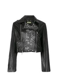 Chaqueta Motera de Cuero con Tachuelas Negra de Versace Jeans
