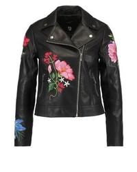 Chaqueta Motera de Cuero de Flores Negra de New Look
