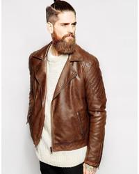 Chaqueta motera de cuero marrón de Asos