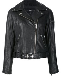 Chaqueta Motera de Cuero Negra de 7 For All Mankind
