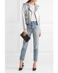 100% autentico nueva apariencia calidad de marca Chaqueta motera de cuero plateada de Saint Laurent, €4.485 ...