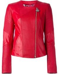 Chaqueta motera de cuero roja de Philipp Plein