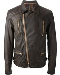 Chaqueta motera marron oscuro original 8635197