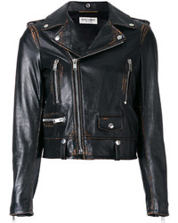 Chaqueta Motera Marrón Oscuro de Saint Laurent