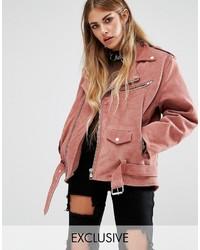 Chaqueta motera rosada de Reclaimed Vintage