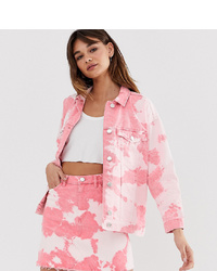 Chaqueta vaquera efecto teñido anudado rosada de Monki