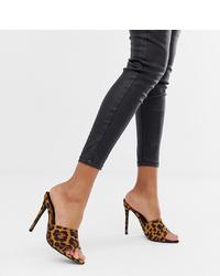 Chinelas de ante de leopardo marrón claro de Missguided