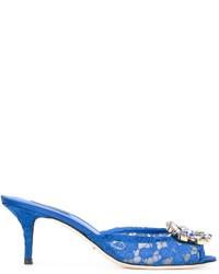 Chinelas de cuero azules de Dolce & Gabbana
