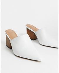 Chinelas de cuero blancas de ASOS DESIGN