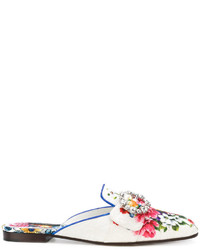 Chinelas de cuero con adornos blancas de Dolce & Gabbana