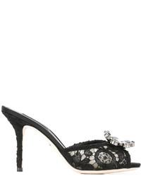 Chinelas de cuero con adornos negras de Dolce & Gabbana