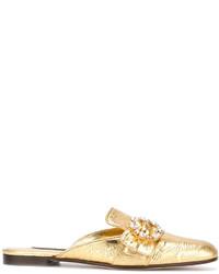 Chinelas de cuero doradas de Dolce & Gabbana
